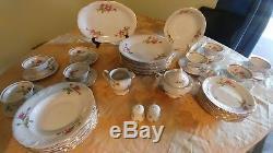 Vintage Wawel WAV8 Rose pattern Dinnerware 46 piece Set for 8, Made in Poland