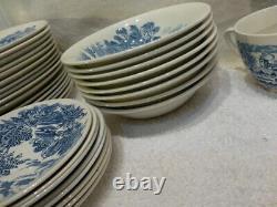Vintage Wedgwood Blue White Countryside 55 Piece China Dinnerware Dish Set MINT