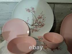 Vintage texas ware melamine Pink white cherry blossoms dinnerware set 52 pc