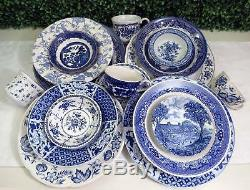 Vtg Mismatched China Dinnerware Set, Blue White Ironstone, 24 Pc, Service 4 or 8