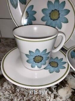 Vtg Noritake Progression Dinnerware SET UP-SA DAISY Plate Bowl Teapot Shaker 28p