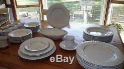White China Dinnerware Set Platinum trim floral band 50 pc service 8 Hostess Set
