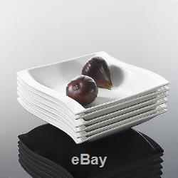 White Porcelain Dinnerware Set China Dishes Modern 26pc Square Plates Bowls Dine