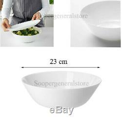 White Serving Salad Bowl Dinnerware Deep Food Dessert Big Pasta Glass Dish 23cm
