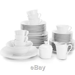 White Square Dinnerware Set 45 Piece Service for 8 Porcelain Dishes Classic Home